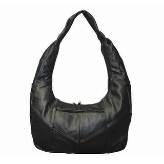 Large Top Zip Hobo Genuine Leather Black Color