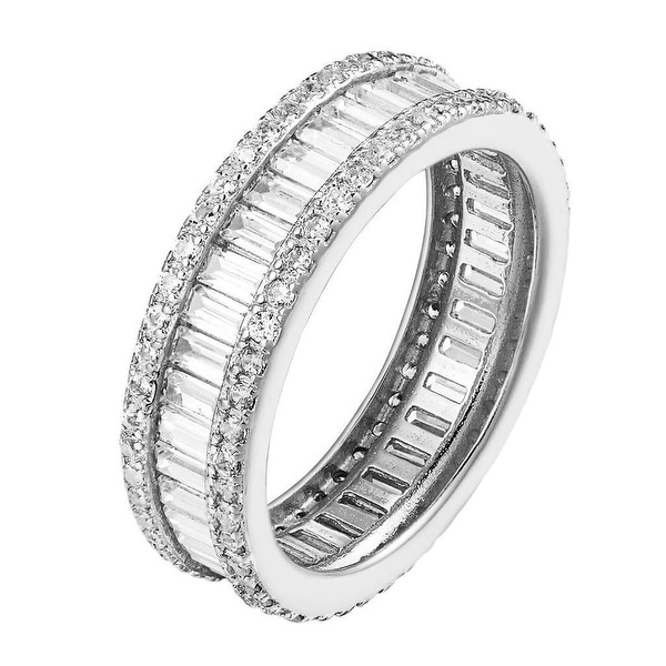 Baguette Cubic Zirconia Eternity Band .925 Sterling Silver Ring Sizes 6-8 Classy