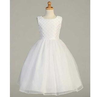 White Shantung Tuck Pearl Accent First Communion Dress Girls 6-14 (5 options available)