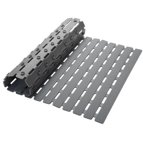 Elle Décor Deck Striped Non Slip Bath Mat in Grey