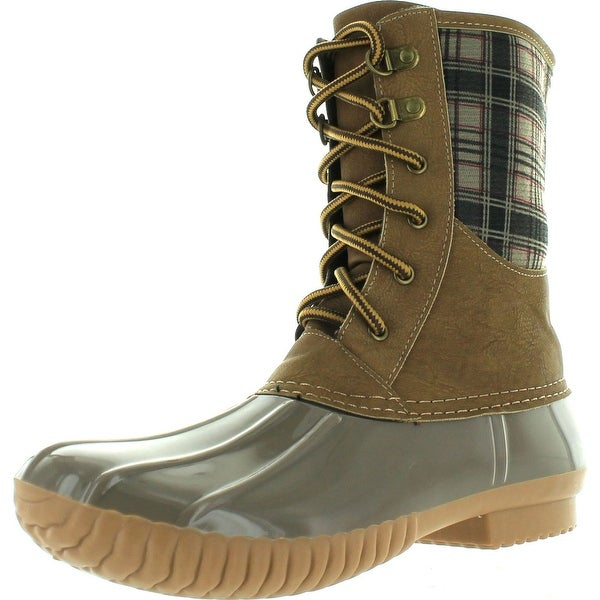 Cape Robbin Muriel-Bc-4 Women's Lace Up Plaid Duck Rain Shoes High Top Ankle Booties