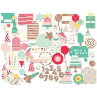 Hooray Mixed Bag Cardstock Die-Cuts 54/Pkg-W/Rose Gold Foil Accents