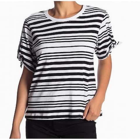Abound White Striped Crewneck Women's Large Knit Top Shirt