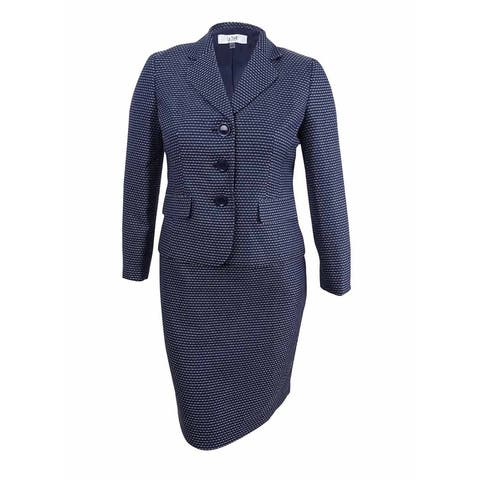 Le Suit Women's Petite Three-Button Tweed Skirt Suit - Navy/Ivory