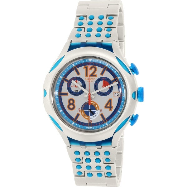 0e0fc947f2a1 Shop Swatch Men s Irony Silver Aluminum Swiss Quartz Fashion Watch ...