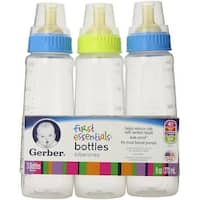 Gerber First Essentials Bottles, Clear View, with Latex Nipples (assorted colors), 3 ea