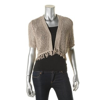 Calvin Klein Womens Cardigan Top Knit Fringe