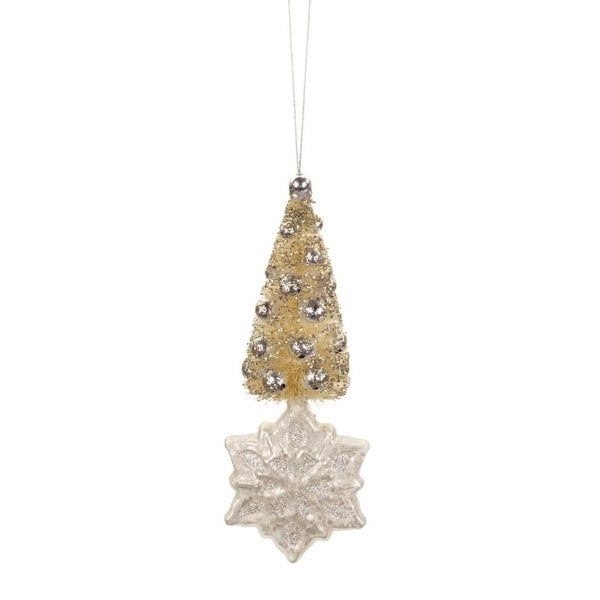 Set of 12 Silver and Yellow Glittered Mini Christmas Tree Snowflake Ornaments 6.5""