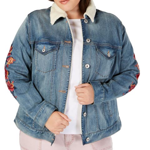 Style & Co. Women's Jacket Blue Size 18W Plus Denim Floral Embroidered