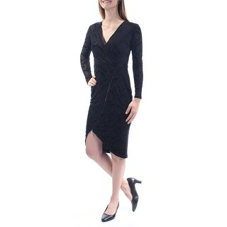 Womens Black Long Sleeve Below The Knee Hi-Lo Cocktail Dress Size: S