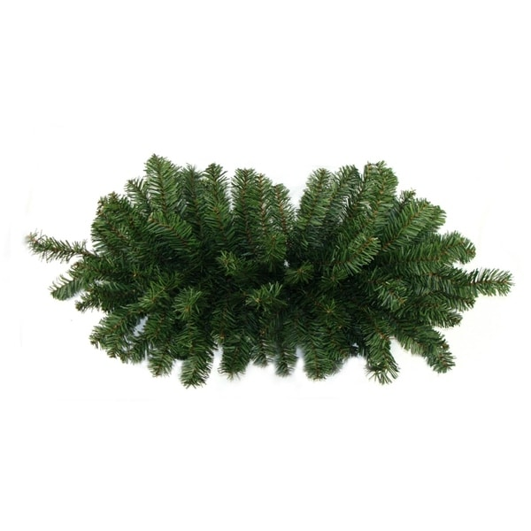 "32"" Two-Tone Canadian Pine Artificial Christmas Door Swag - Unlit - Green"