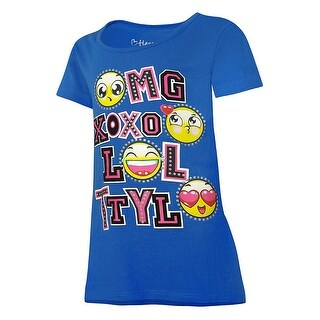 Hanes Girls' Emoticon Message Peplum Tee - Size - XS - Color - Emoticon Message/Surf The Web