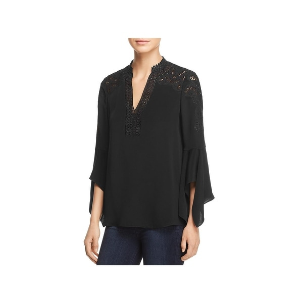 Kobi Halperin Womens Pullover Top Bell Sleeve Embroidered