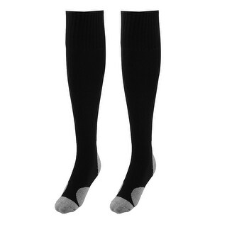 Unisex Anti Slip Breathable Elastic Rugby Football Soccer Long Socks Black Pair