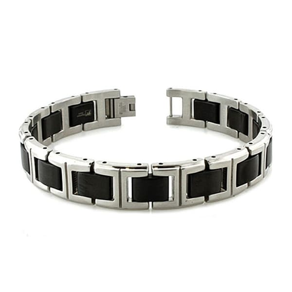 Two-tone Black Plated and Satin FinishMen's Stainless Steel Link Bracelet - 8.25 Inches