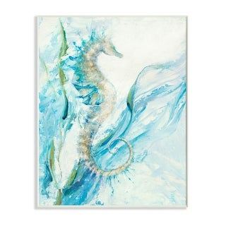 Link to Stupell Industries Nautical Seahorse Blue Fluid Ocean Water Wood Wall Art Similar Items in Canvas Art