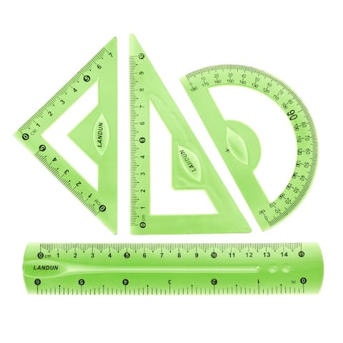 Flexible Measuring Tool with Protractor Triangle Ruler 15cm 6 Inch Ruler Blue - Green