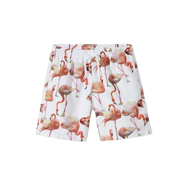 e9da03a7d0 Shop Stella Cove Baby Boys White Tan Flamingo Print Swimwear Trunks - 12  Months - Free Shipping Today - Overstock - 25687291
