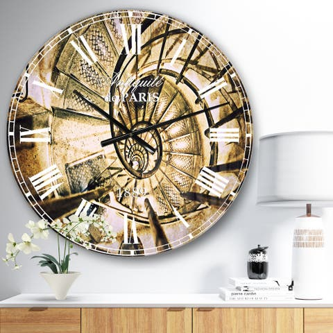 Designart 'Architectural Detail of Paris in Winter' Vintage Large Wall CLock
