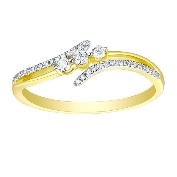 Fabulous 0.14Ct Natural G-H/I1 Diamond Light Weight Two Tone Fancy Ring - White G-H