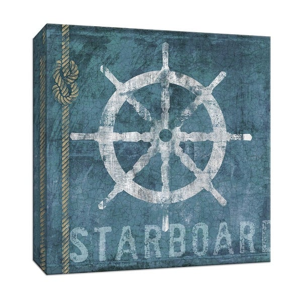 "PTM Images 9-146867 PTM Canvas Collection 12"" x 12"" - ""Starboard"" Giclee Ship Wheels Art Print on Canvas"