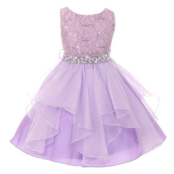c7377e876 Shop Girls Lilac Stretch Lace Crystal Tulle Ruffle Junior Bridesmaid Dress  - Free Shipping Today - Overstock - 18167642