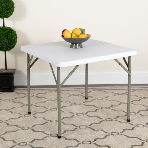 34-inch Square Granite White Plastic Folding Table