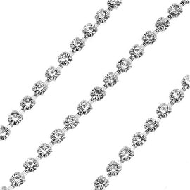 Czech Crystal Silver Plated Rhinestone Cup Chain 14PP Crystal (By The Foot)
