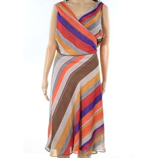 Lauren By Ralph Lauren NEW Beige Womens Size 18W Plus Wrap Skater Dress