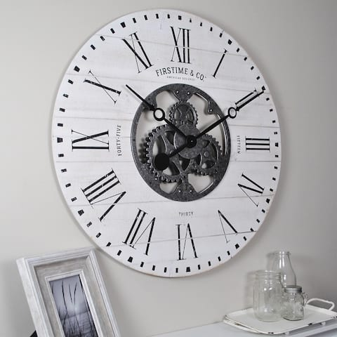 FirsTime & Co.® Shiplap Farmhouse Gears Wall Clock - 27 x 2 x 27 in