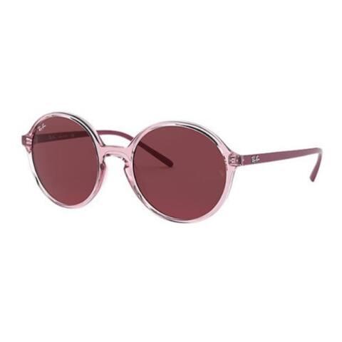 Ray-Ban 53mm Round Frame Sunglasses (Transparent Pink / Dark Violet)