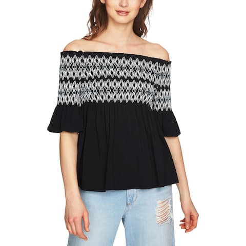 1.State Womens Pullover Top Smocked Off-The-Shoulder