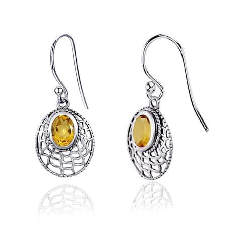 Amethyst, Blue Topaz, Citrine, Garnet Sterling Silver Oval Dangle Earrings by Orchid Jewelry
