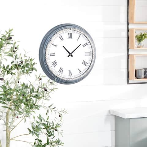 White Metal Farmhouse Wall Clock 23 x 23 x 3 - 23 x 3 x 23