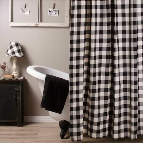 "Cotton Shower Curtain Buffalo Check Black and Buttermilk 72"" x 72"""
