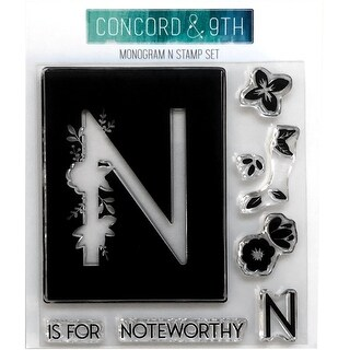 """Concord & 9Th Clear Stamps 4""""X4""""-Monogram N"""