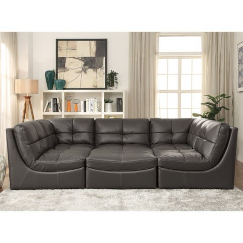 Furniture of America Rile Grey Faux Leather Cocktail Ottoman