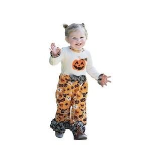 AnnLoren Baby Girls Orange White Halloween Pumpkin Knit Romper
