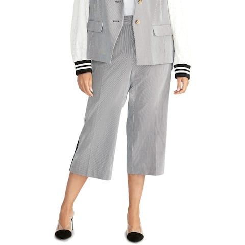 Rachel Rachel Roy Womens Plus Elin Cropped Pants Striped Satin-Trim - True Navy Combo