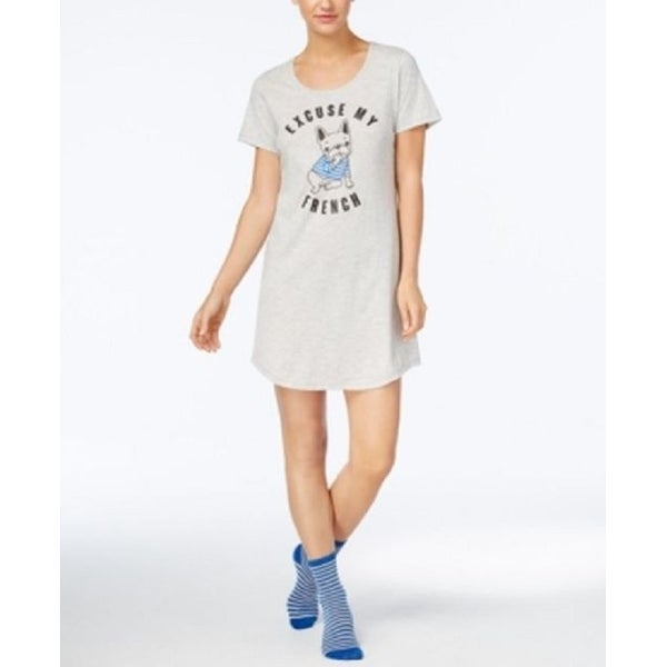 35a5f1882bf3 Shop Jenni by Jenni Moore Women's Graphic-Print Sleepshirt and Socks French  Set Size Small - Grey - Free Shipping On Orders Over $45 - Overstock -  27877021