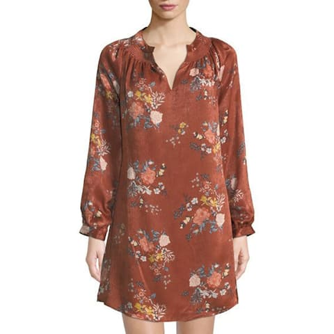 Laundry by Shelli Segal Smocked-Neck Floral Dress, Luggage Multi, 14