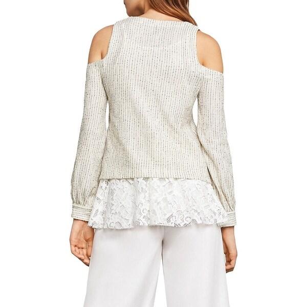 BCBGMAXAZRIA Womens Lace Trim Sweater