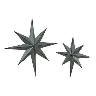 Set of 2 Rustic Galvanized Finish Metal 8 Pointed Star Wall Hangings - 25.5 X 23.5 X 2.5 inches