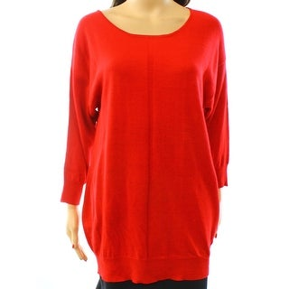 Colour Works NEW Red Women Size Small S Tunic Square Neck Knit Sweater