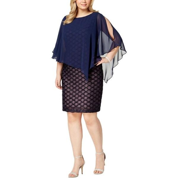 Connected Apparel Womens Plus Party Dress Cape Cold Shoulder