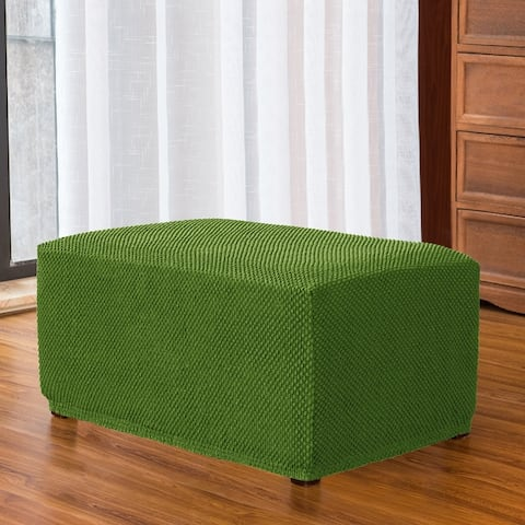 Subrtex Stretch Ottoman Slipcover Textured Mini Dots Footstool Cover