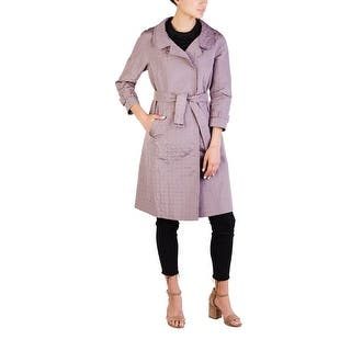 Prada Women's Silk Polyester Blend Double Breasted Trench Coat Purple|https://ak1.ostkcdn.com/images/products/is/images/direct/5120474b0e73a46edacfeb021652f6afd4f0cb26/Prada-Women%27s-Silk-Polyester-Blend-Double-Breasted-Trench-Coat-Purple.jpg?impolicy=medium