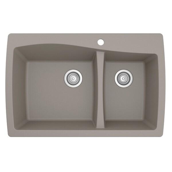 Karran Drop-In Quartz 60/40 Double Bowl Kitchen Sink. Opens flyout.