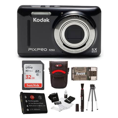 Kodak PIXPRO Friendly Zoom FZ53 with 32GB SD Card and Accessory Bundle