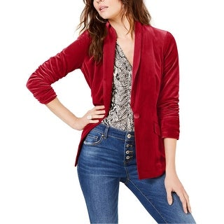 Link to I-N-C Womens Velvet One Button Blazer Jacket Similar Items in Suits & Suit Separates